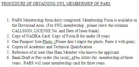 SWL Membership procedure HA